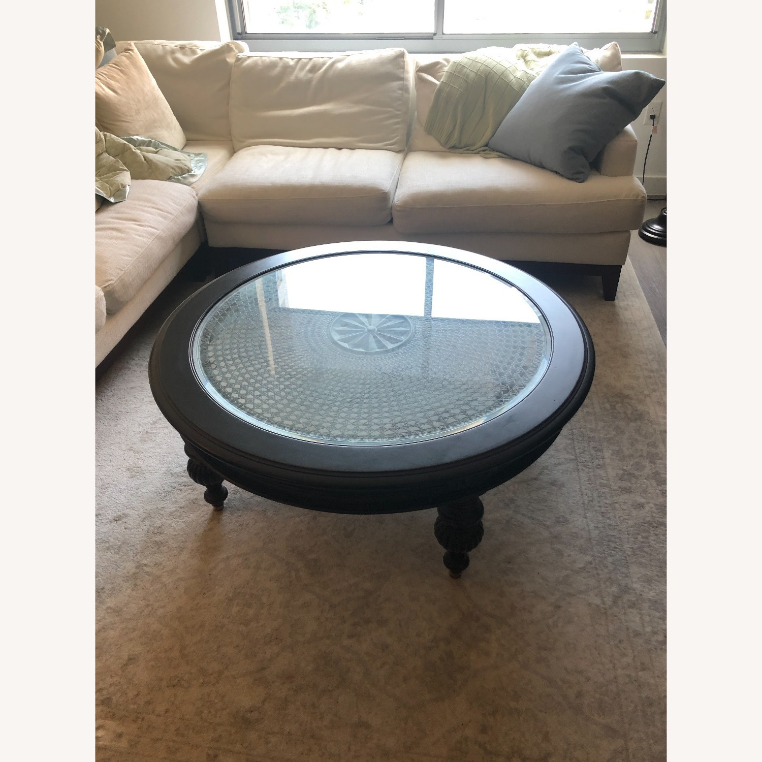 Ethan Allen Maya Round Coffee Table in Peppercorn - image-4