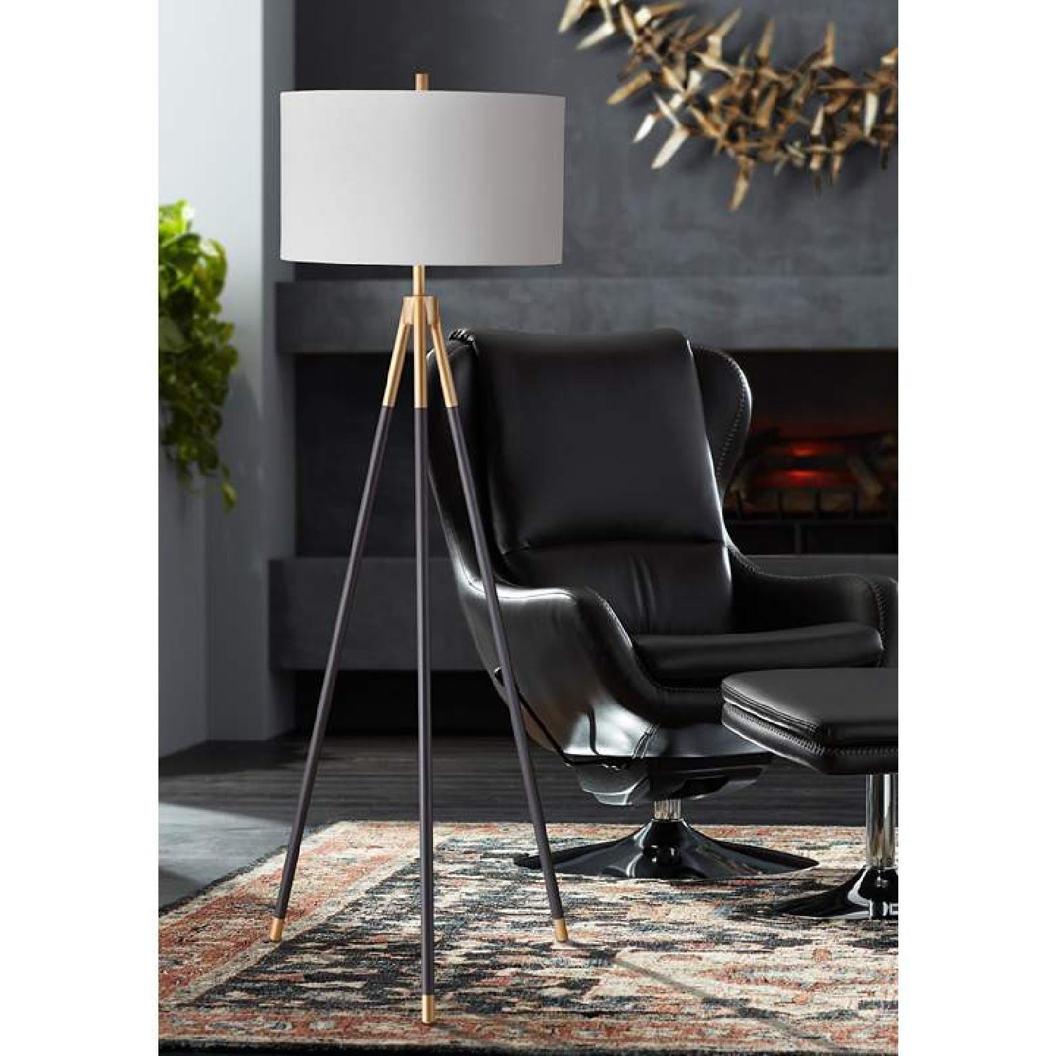 Rowe Furniture Black and Gold Tripod Floor Lamp - image-4