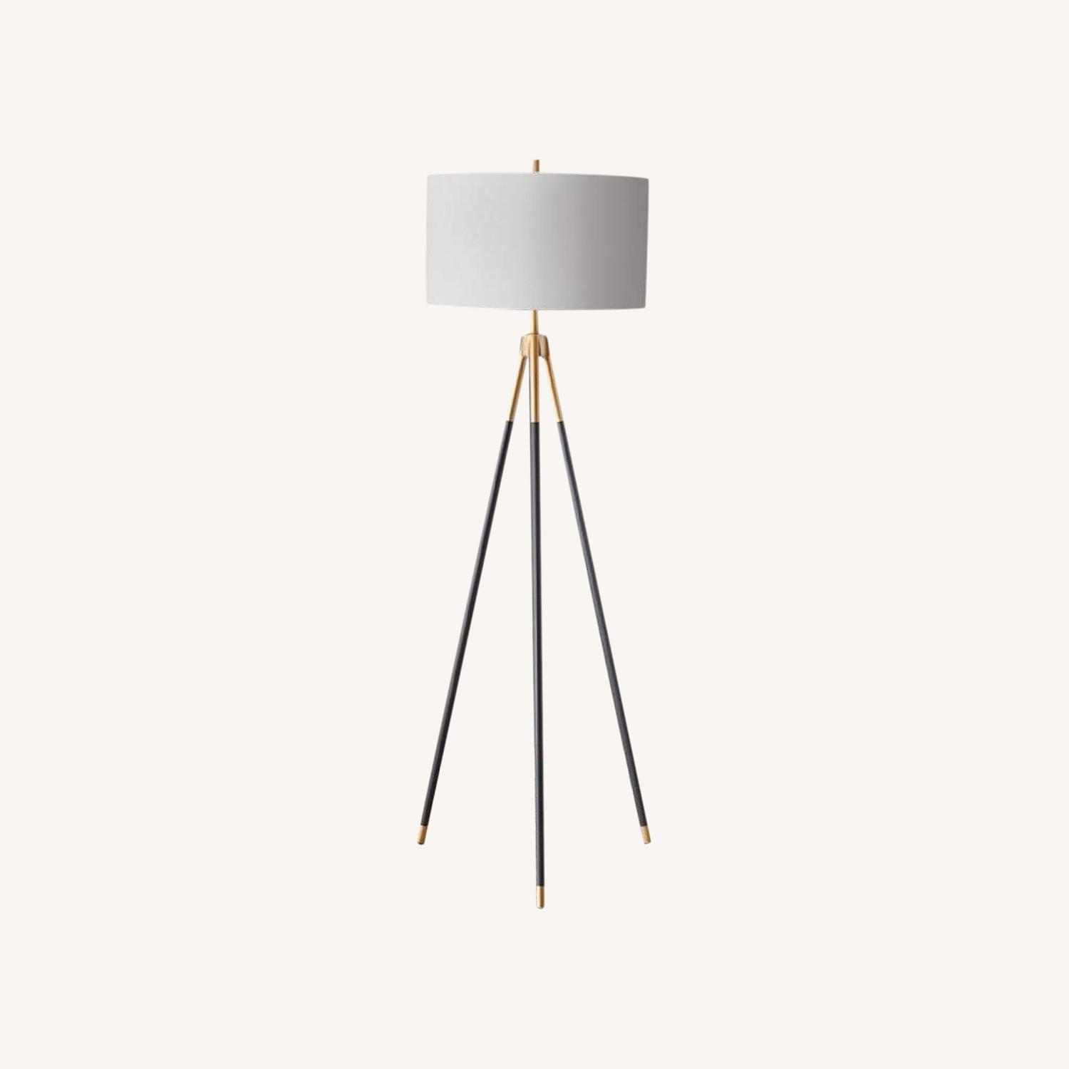 Rowe Furniture Black and Gold Tripod Floor Lamp - image-0