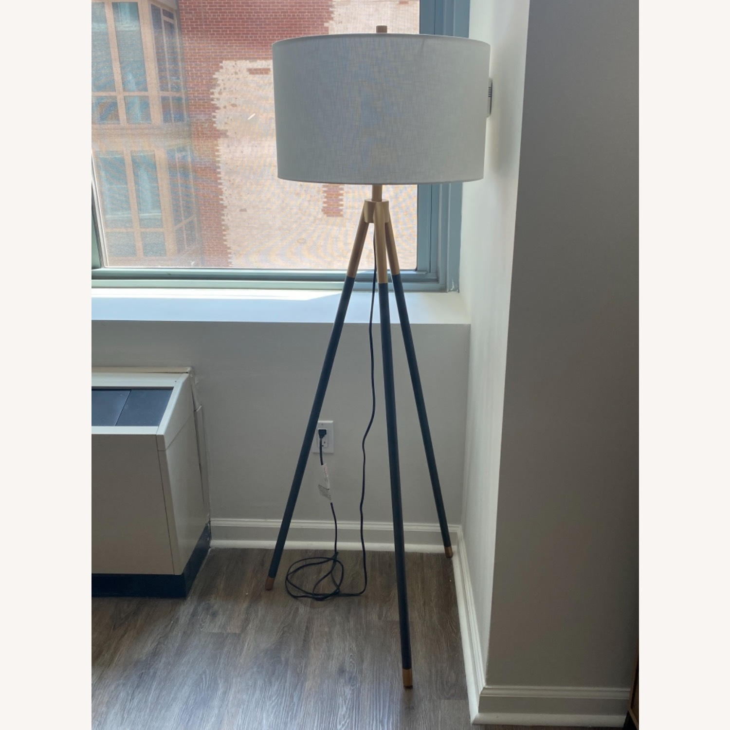 Rowe Furniture Black and Gold Tripod Floor Lamp - image-3