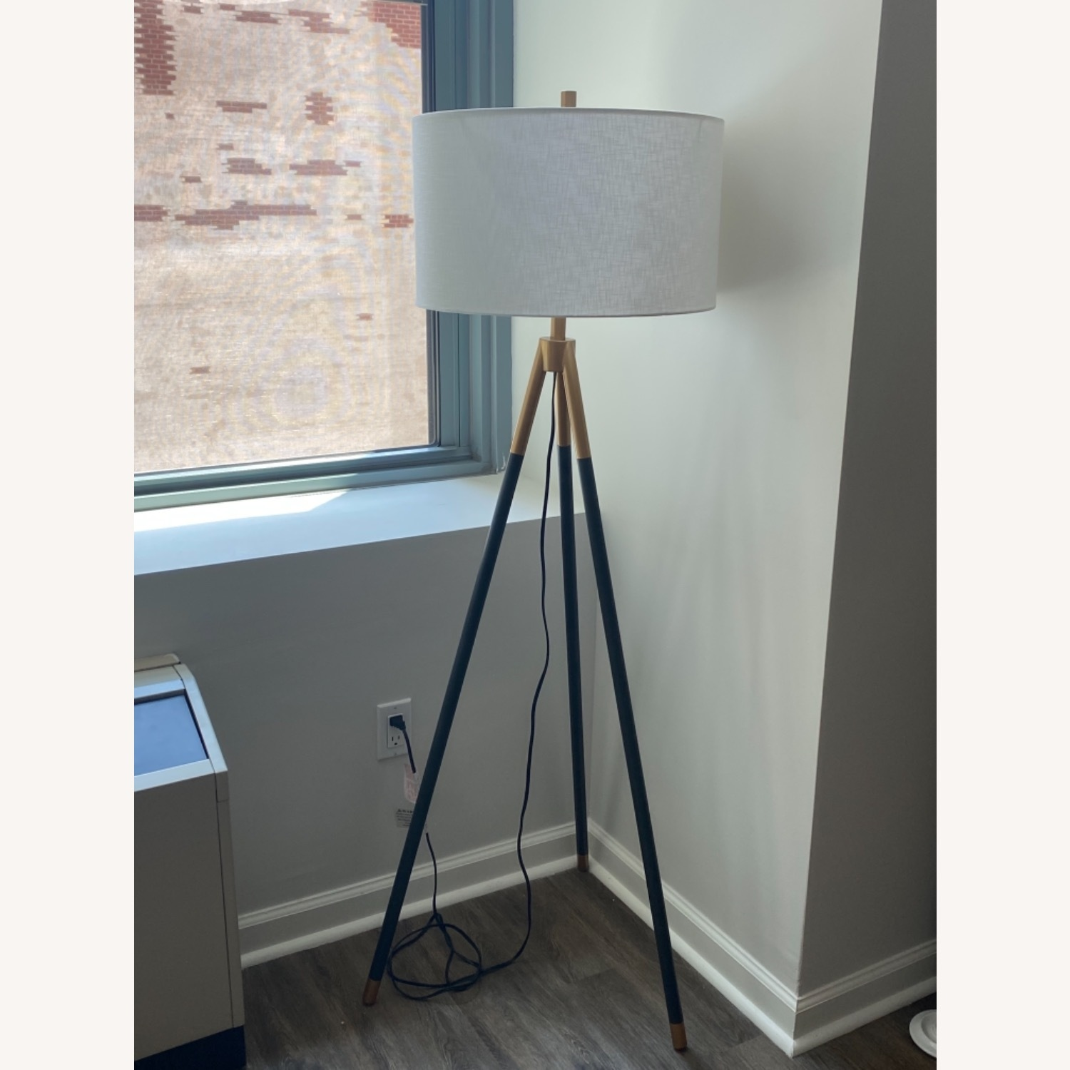 Rowe Furniture Black and Gold Tripod Floor Lamp - image-1