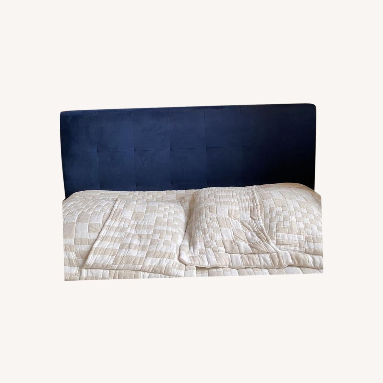 West Elm Blue Velvet Headboard - image-0