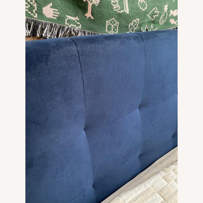 West Elm Blue Velvet Headboard - image-3