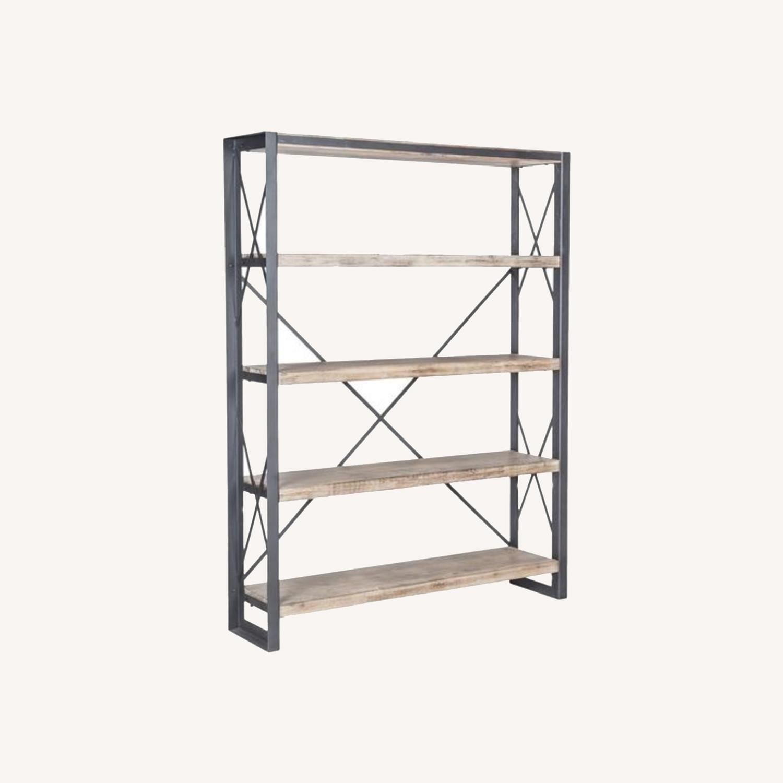 Industrial Wood and Metal Bookshelves - image-0