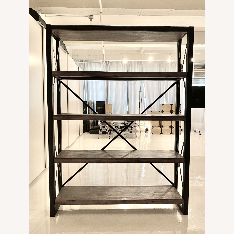Industrial Wood and Metal Bookshelves - image-2