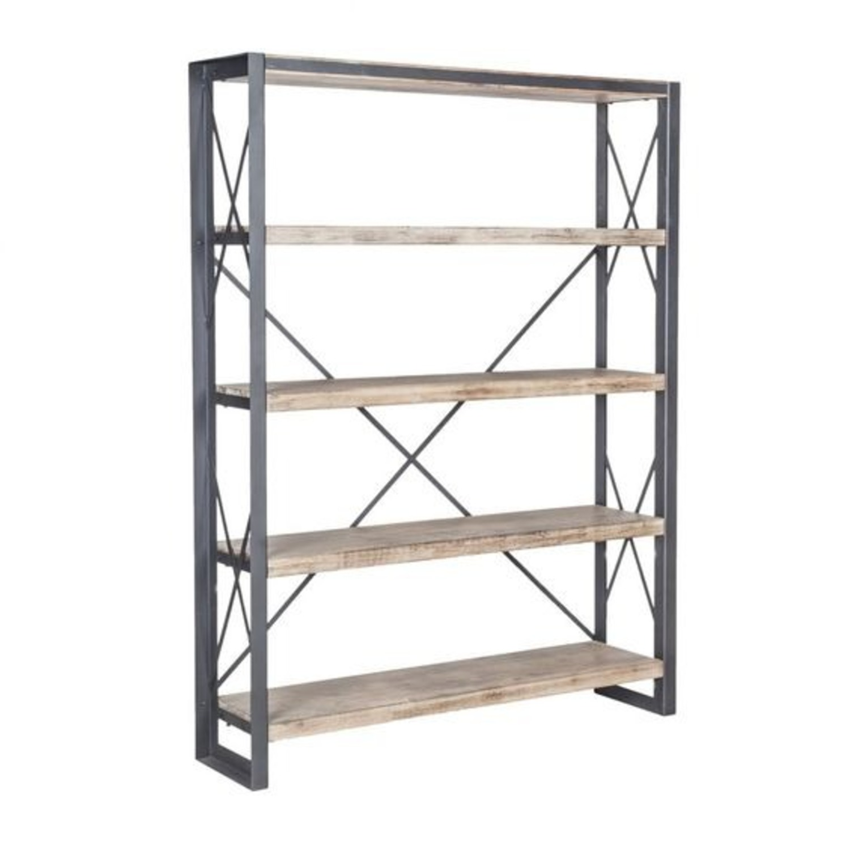 Industrial Wood and Metal Bookshelves - image-1