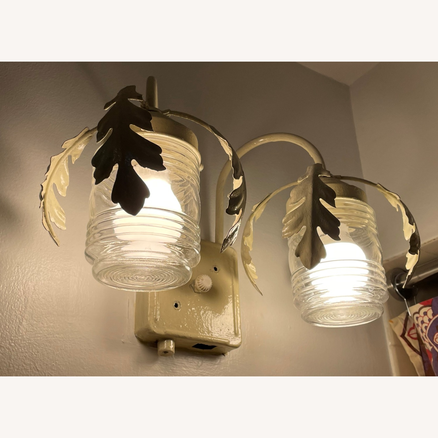 Vintage Mid-Century Rustic Shabby Chic Wall Sconce - image-1