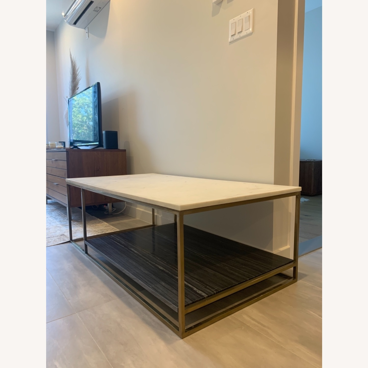 CB2 Grey and White Marble Coffee Table - image-9