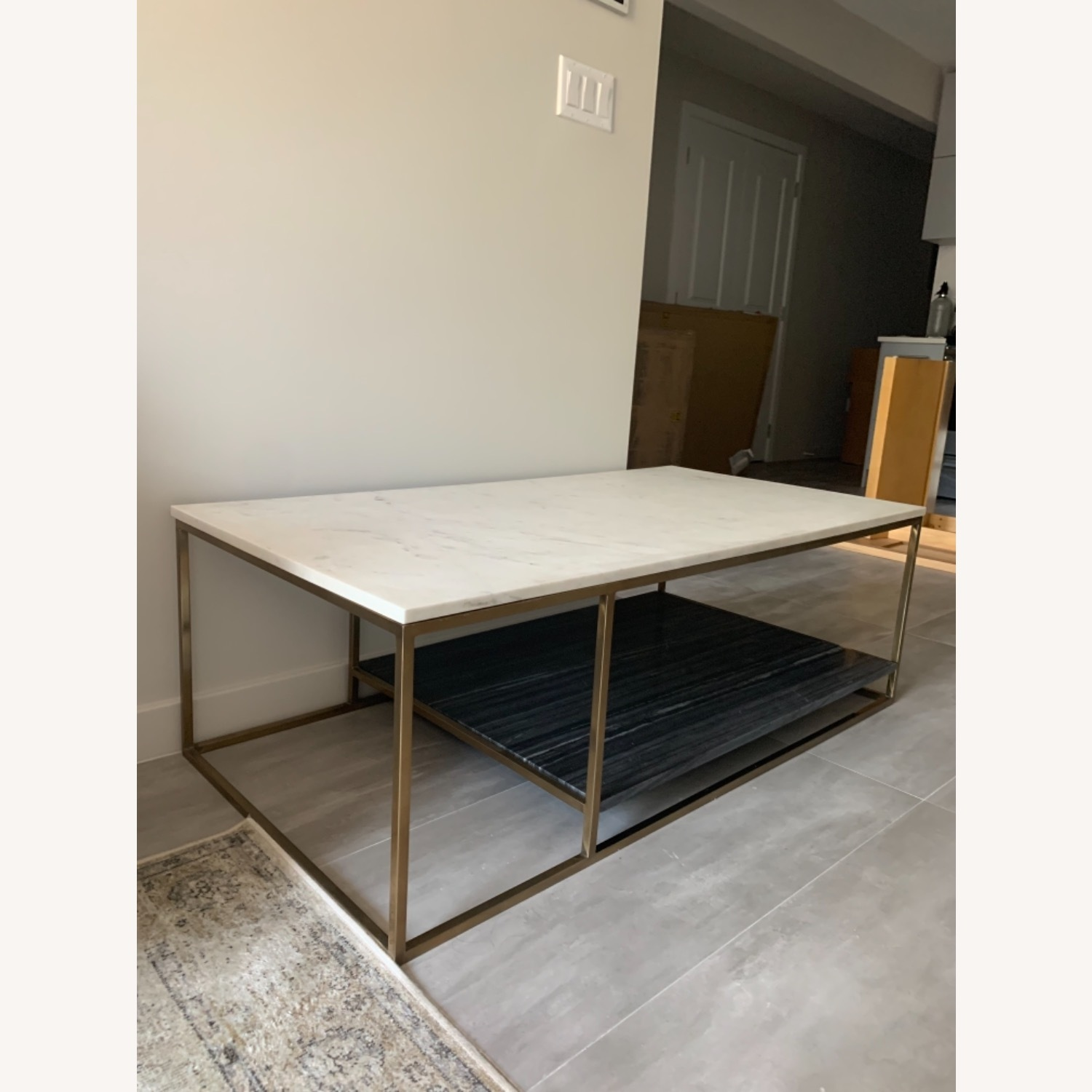 CB2 Grey and White Marble Coffee Table - image-1