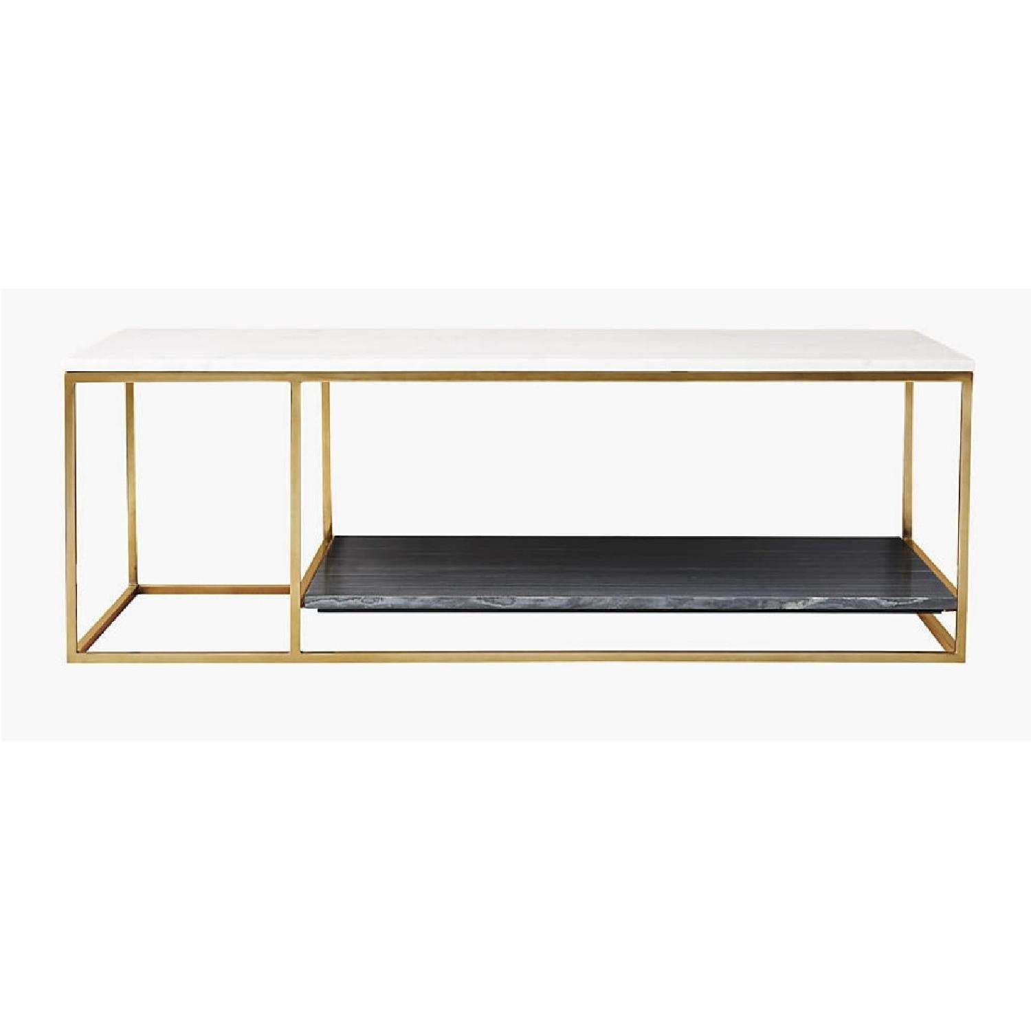 CB2 Grey and White Marble Coffee Table - image-5