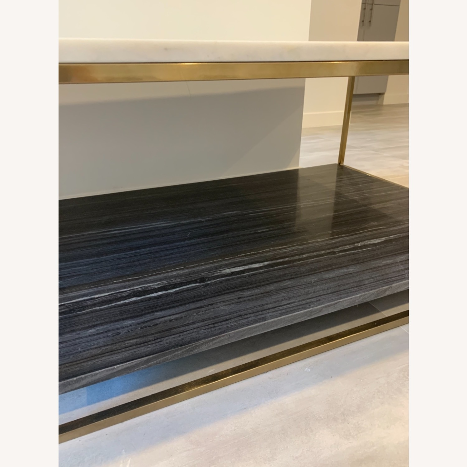 CB2 Grey and White Marble Coffee Table - image-13
