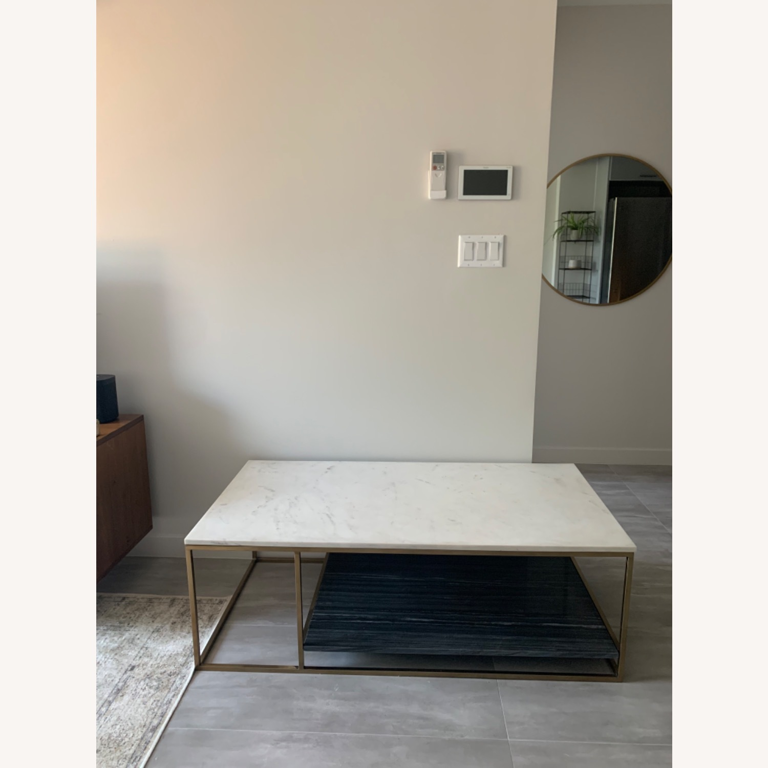 CB2 Grey and White Marble Coffee Table - image-2