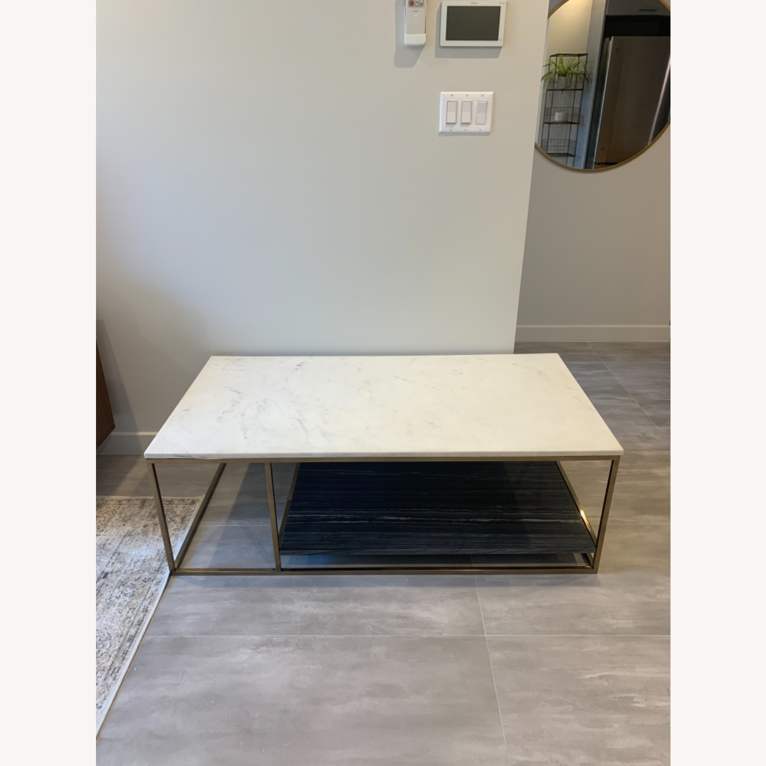 CB2 Grey and White Marble Coffee Table - image-7
