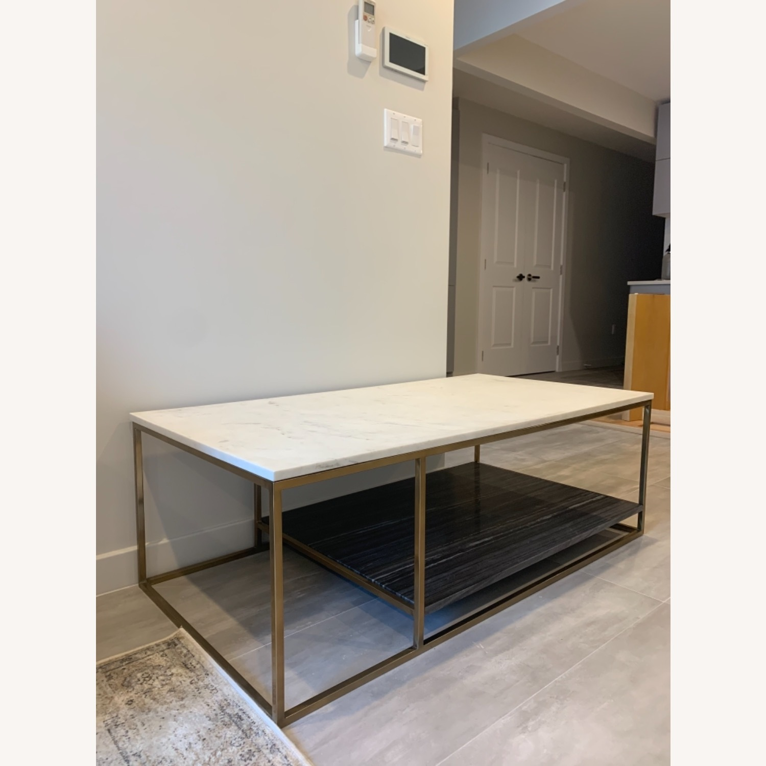 CB2 Grey and White Marble Coffee Table - image-6