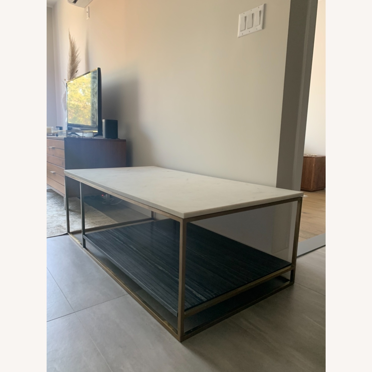 CB2 Grey and White Marble Coffee Table - image-3