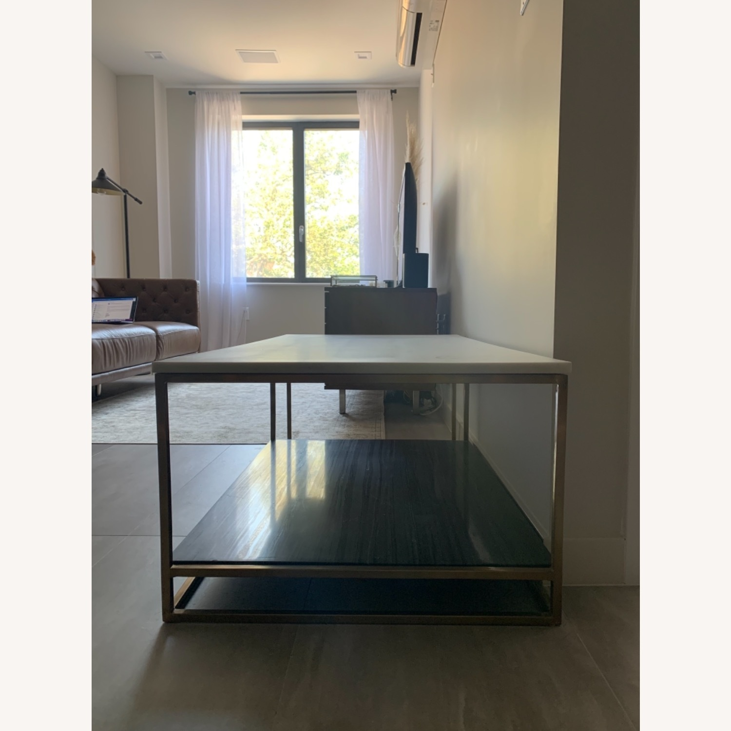 CB2 Grey and White Marble Coffee Table - image-4