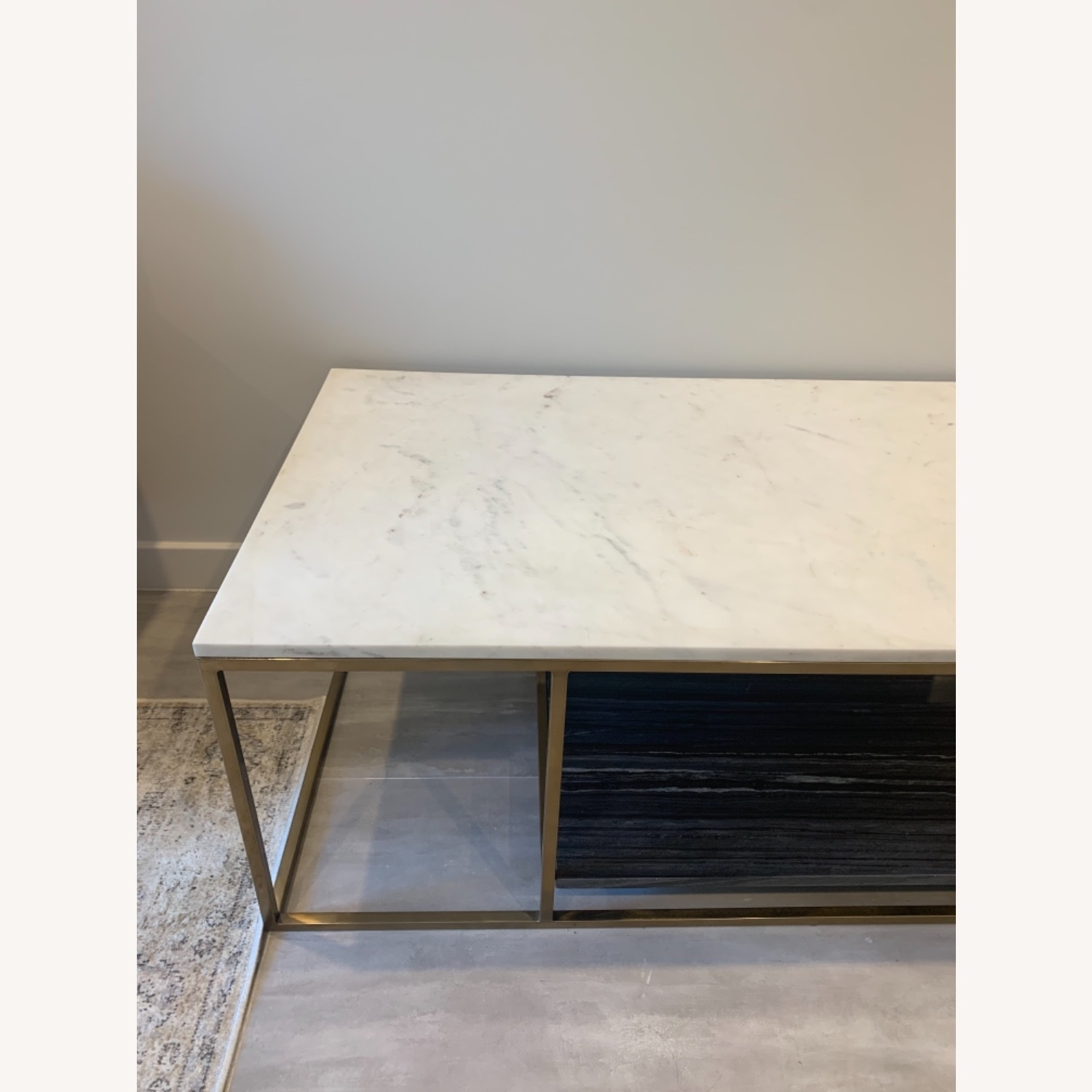 CB2 Grey and White Marble Coffee Table - image-12