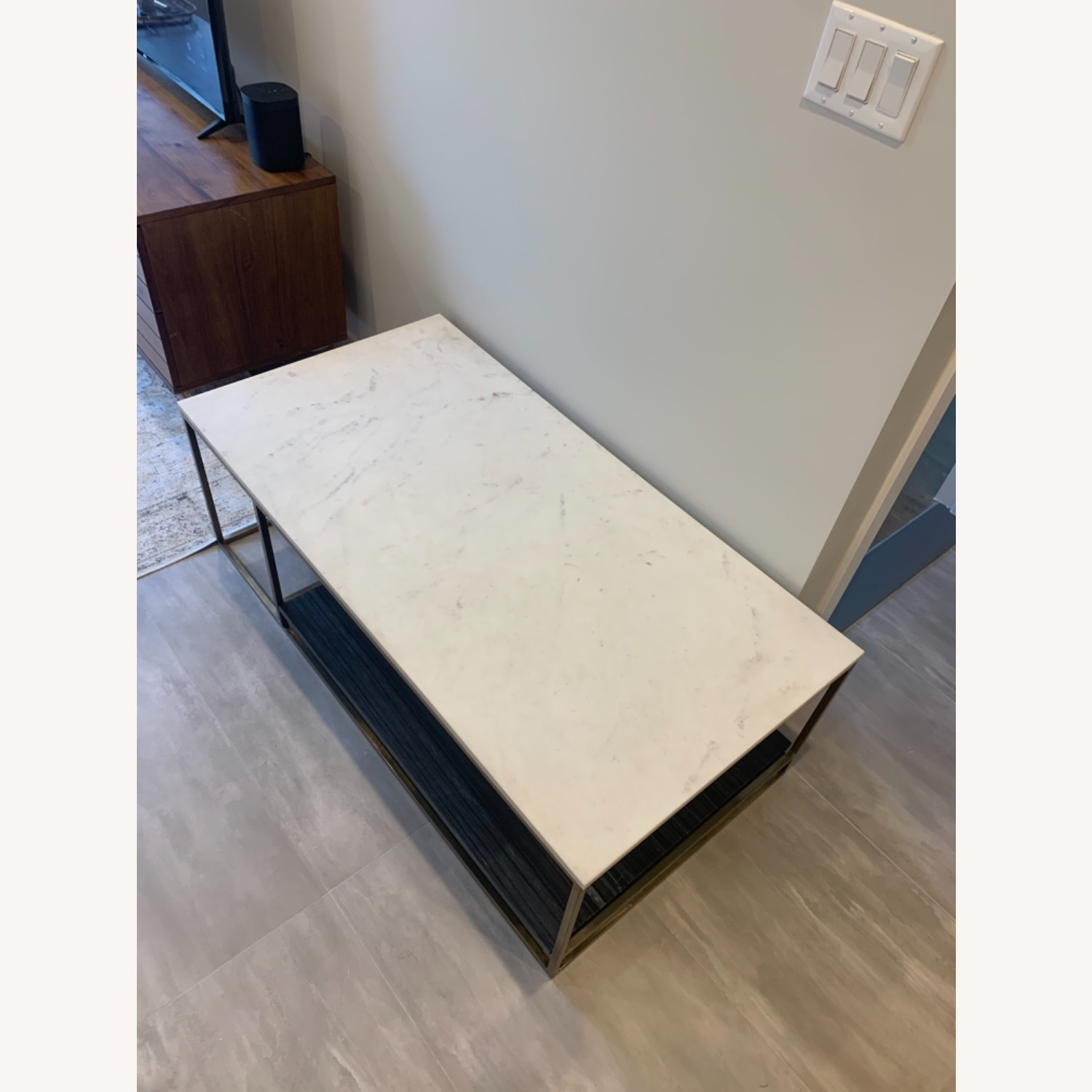 CB2 Grey and White Marble Coffee Table - image-11