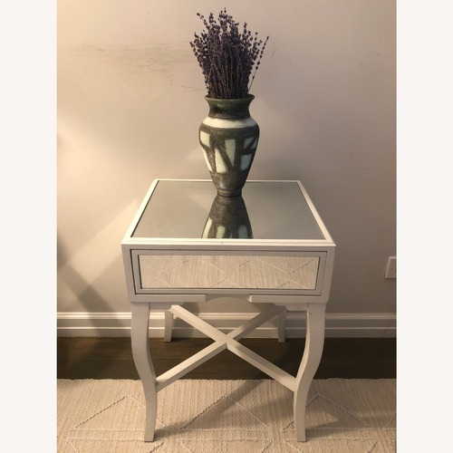 Used World Market Mirrored Side Table with Drawer for sale on AptDeco