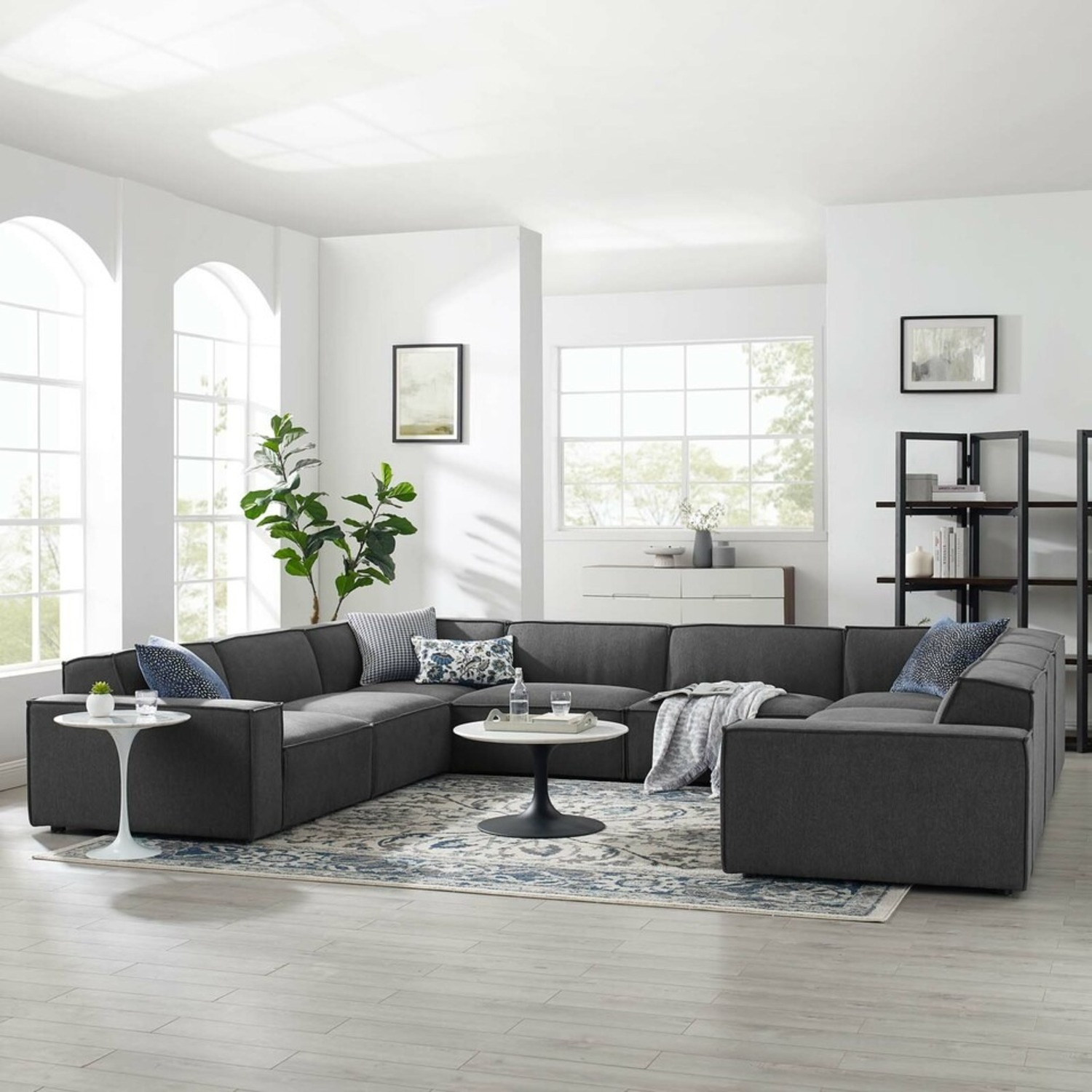 8-Piece Sectional Sofa In Charcoal Fabric Finish - image-9