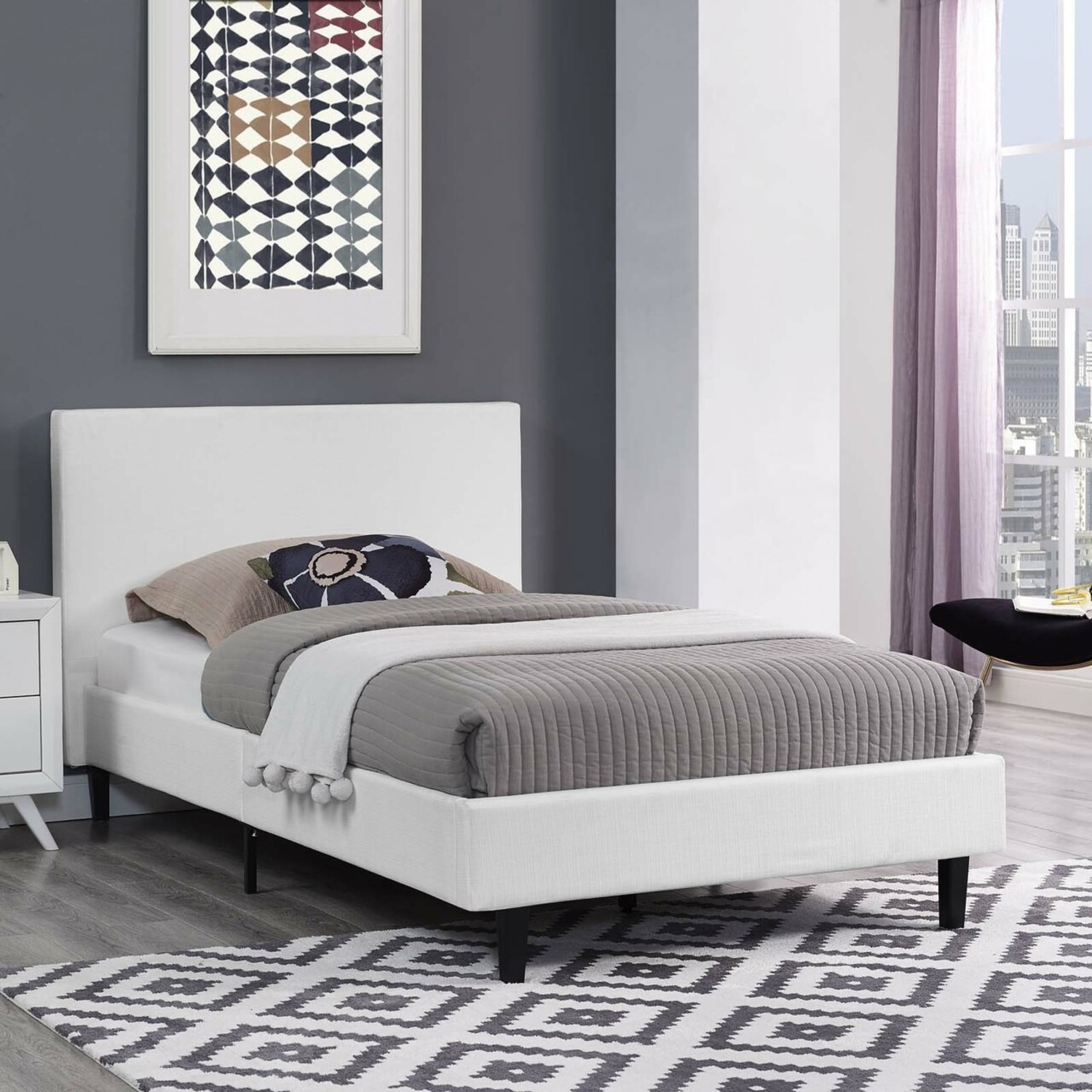 Twin Bed In White Fabric Upholstery Finish - image-4