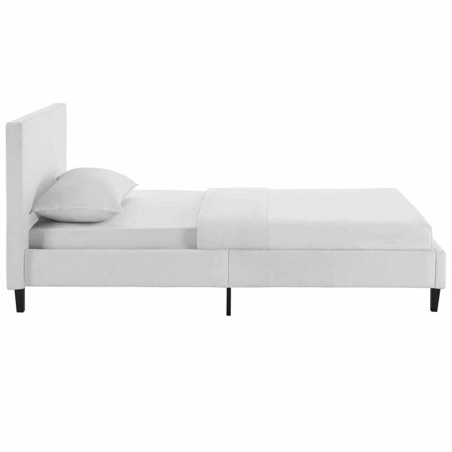 Twin Bed In White Fabric Upholstery Finish - image-2