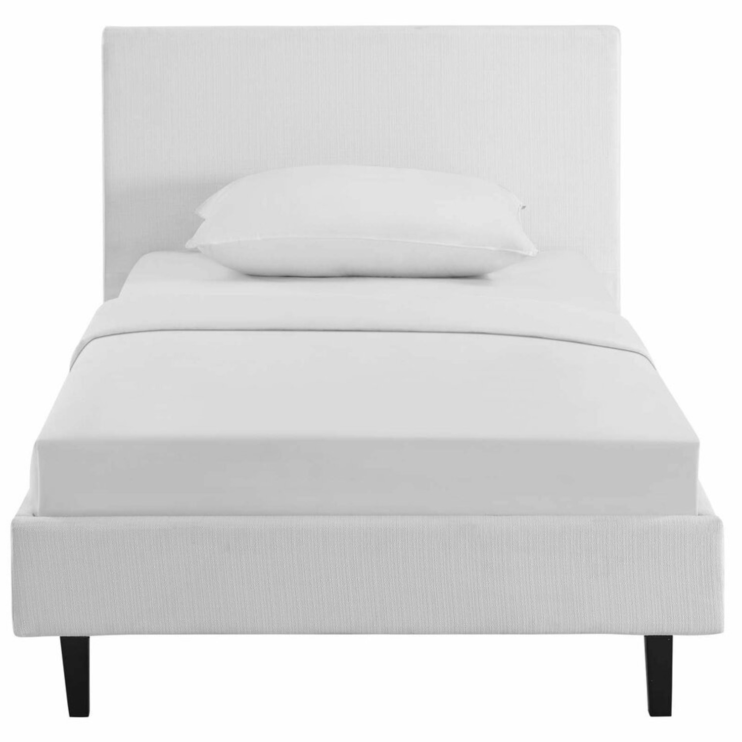Twin Bed In White Fabric Upholstery Finish - image-1