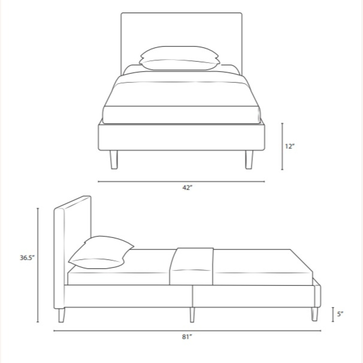 Twin Bed In White Fabric Upholstery Finish - image-5