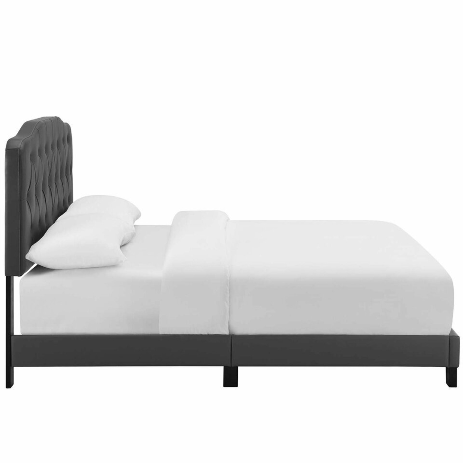 King Bed In Gray Leatherette Upholstery Finish - image-2
