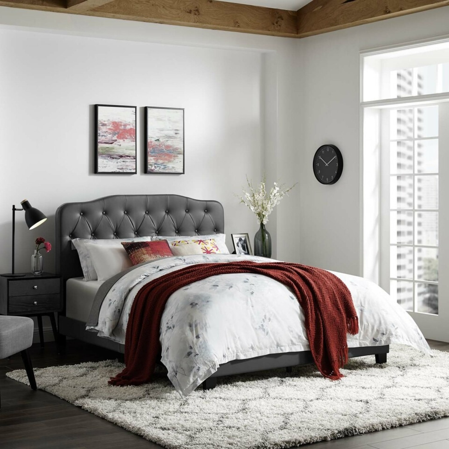King Bed In Gray Leatherette Upholstery Finish - image-4