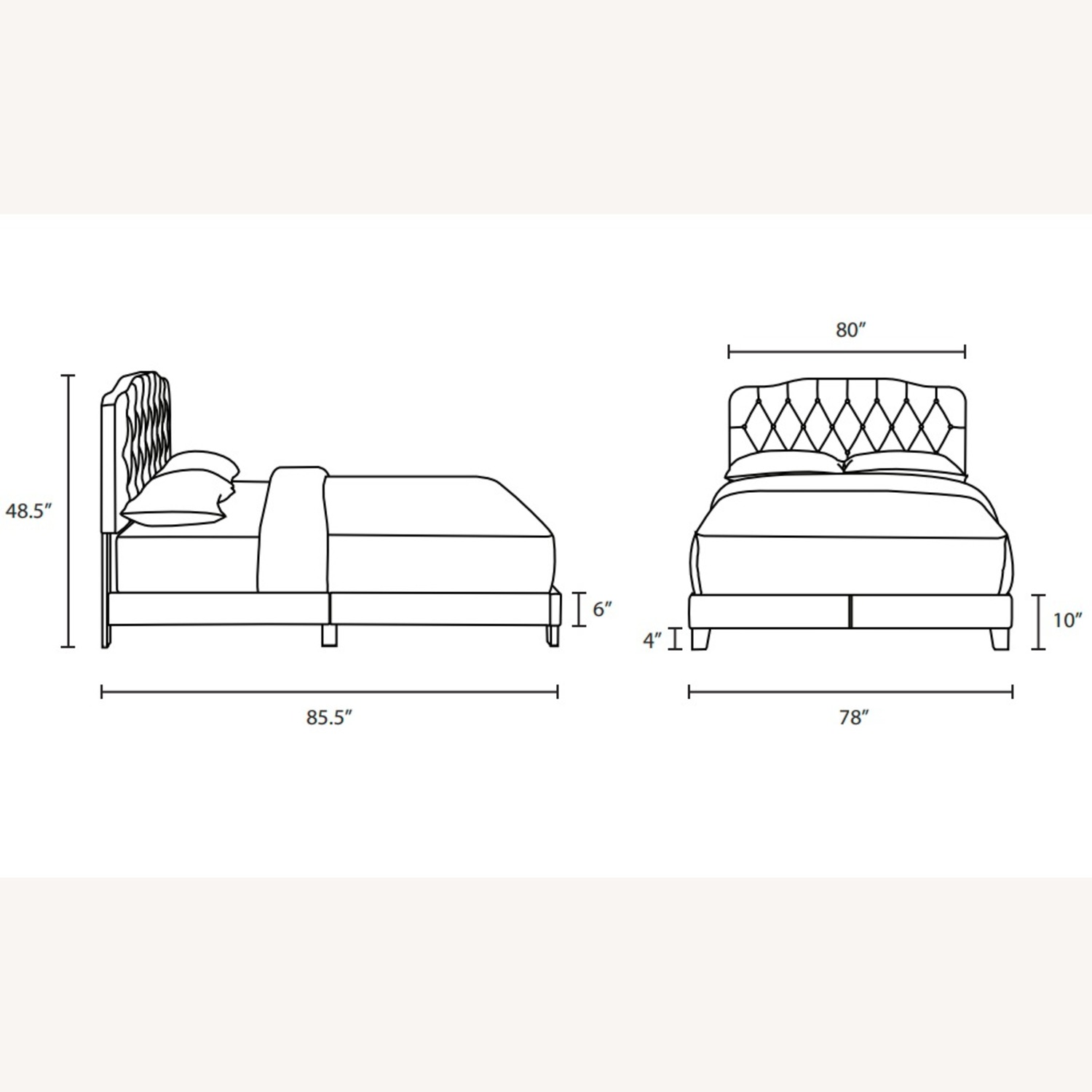 King Bed In Gray Leatherette Upholstery Finish - image-5