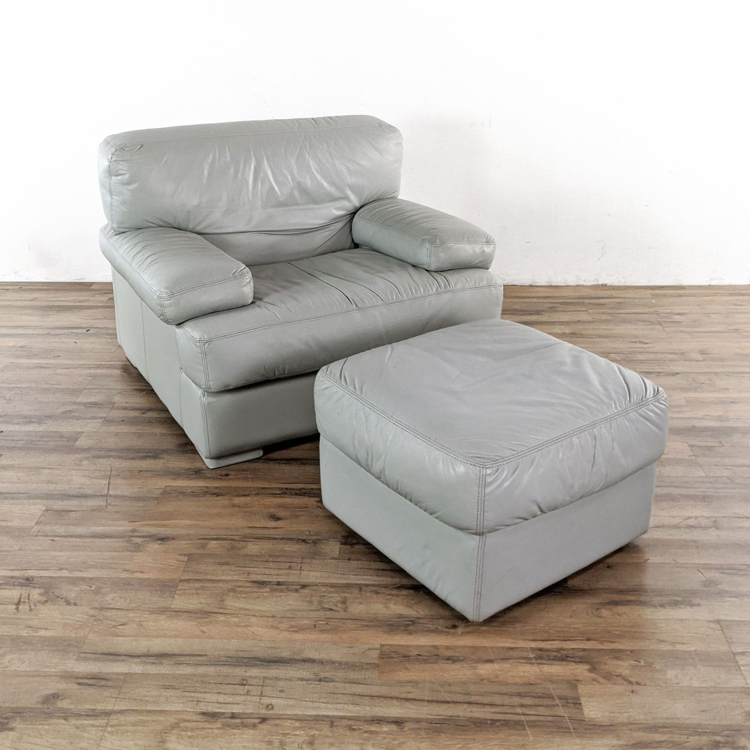 Natuzzi Italian Leather Chair and Ottoman in Gray - image-2