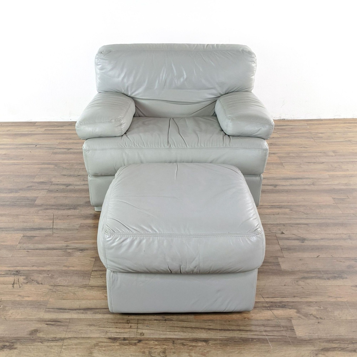 Natuzzi Italian Leather Chair and Ottoman in Gray - image-5