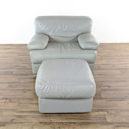 Used Natuzzi Italian Leather Chair and Ottoman in Gray for sale on AptDeco