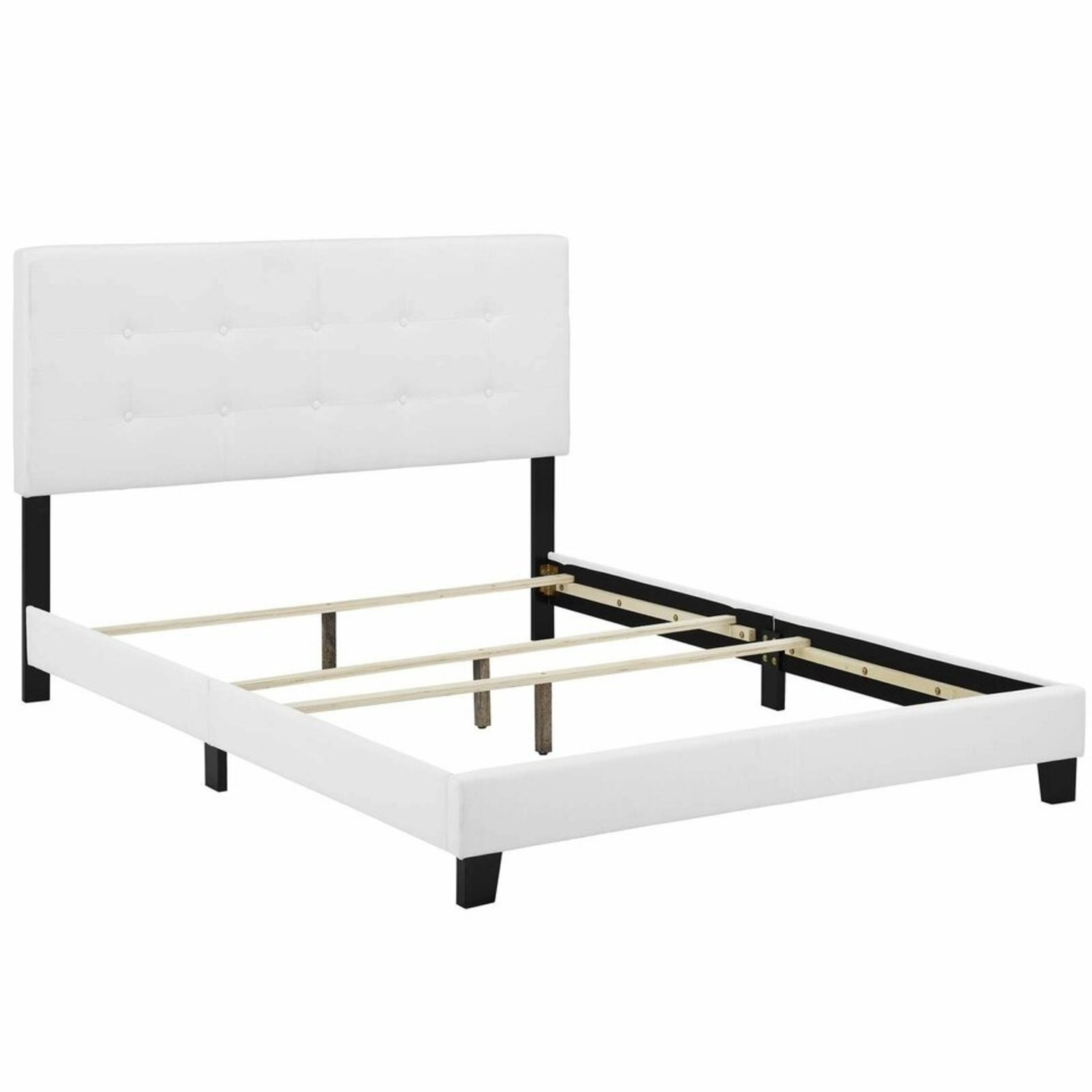 Contemporary Style Full Bed In White Upholstery - image-3