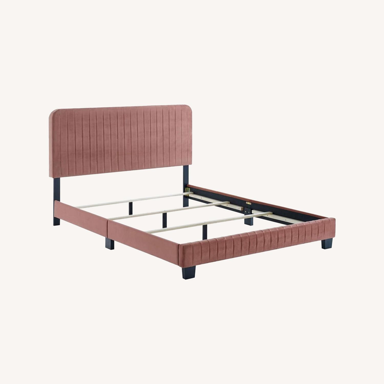 King Bed In Dusty Rose Velvet Upholstery Finish - image-8