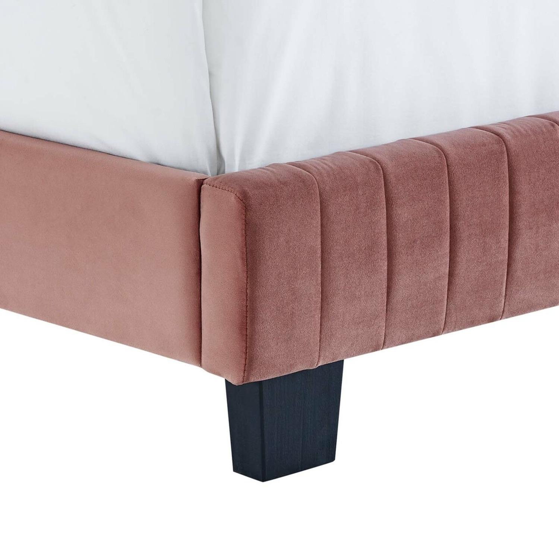 King Bed In Dusty Rose Velvet Upholstery Finish - image-4