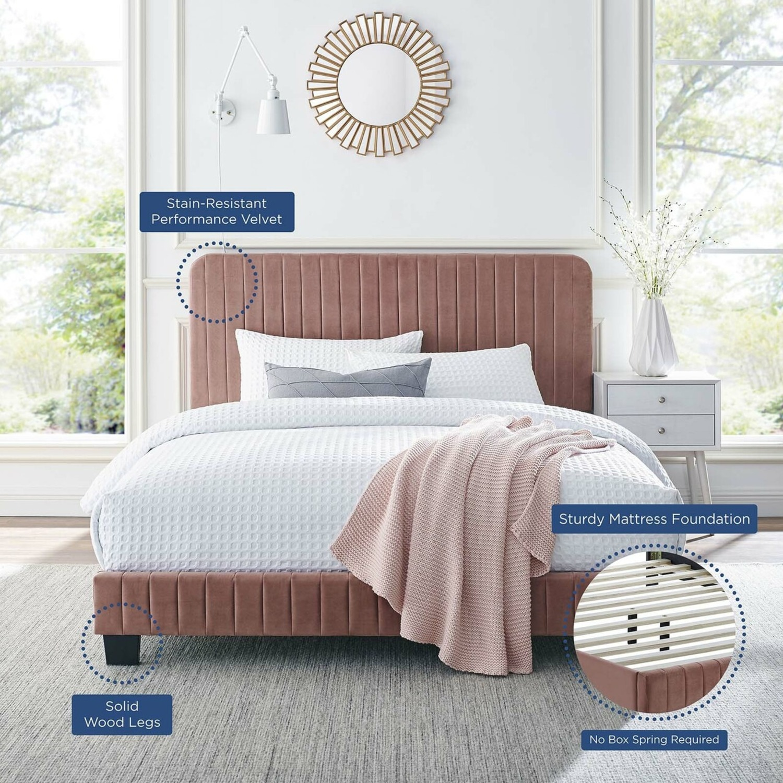 King Bed In Dusty Rose Velvet Upholstery Finish - image-6