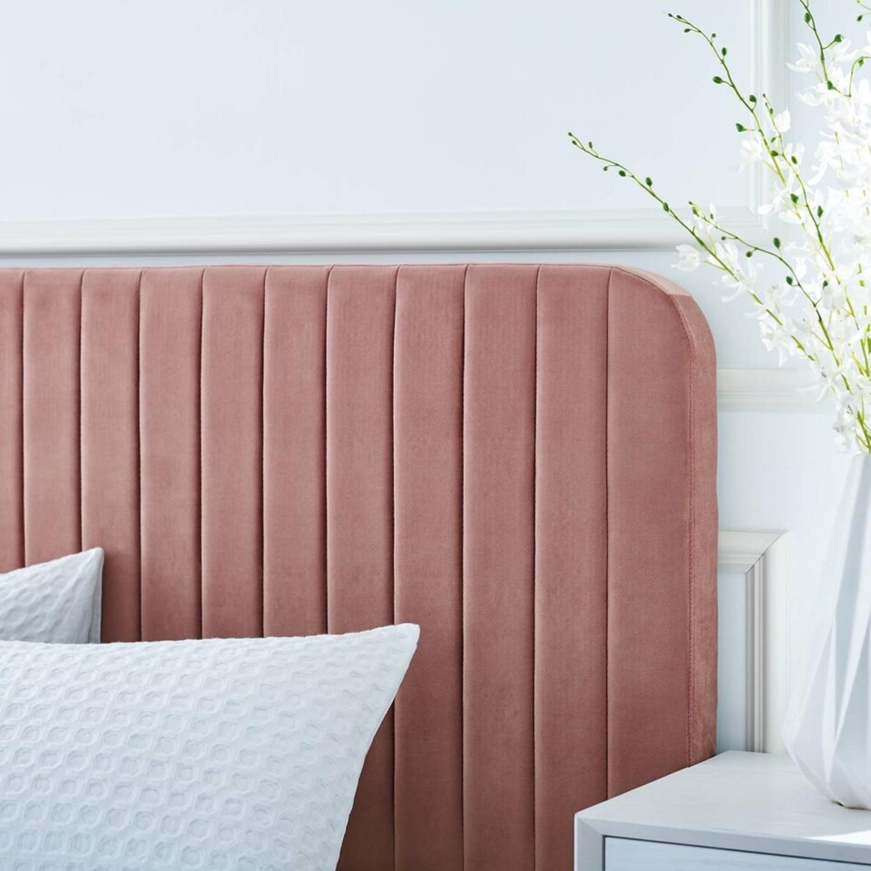 King Bed In Dusty Rose Velvet Upholstery Finish - image-5