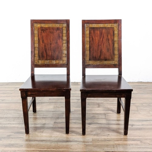 Used Pair of Pier 1 Imports Solid Wood Chairs for sale on AptDeco