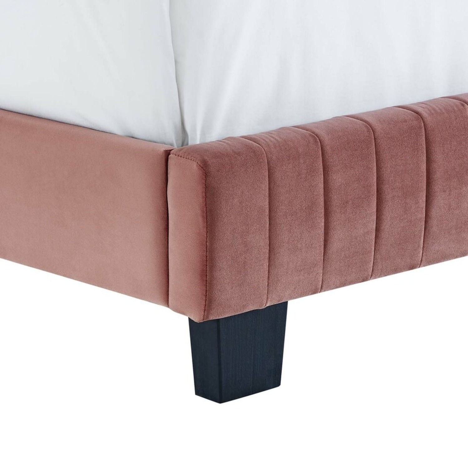 Twin Bed In Dusty Rose Tufted Velvet Fabric Finish - image-4