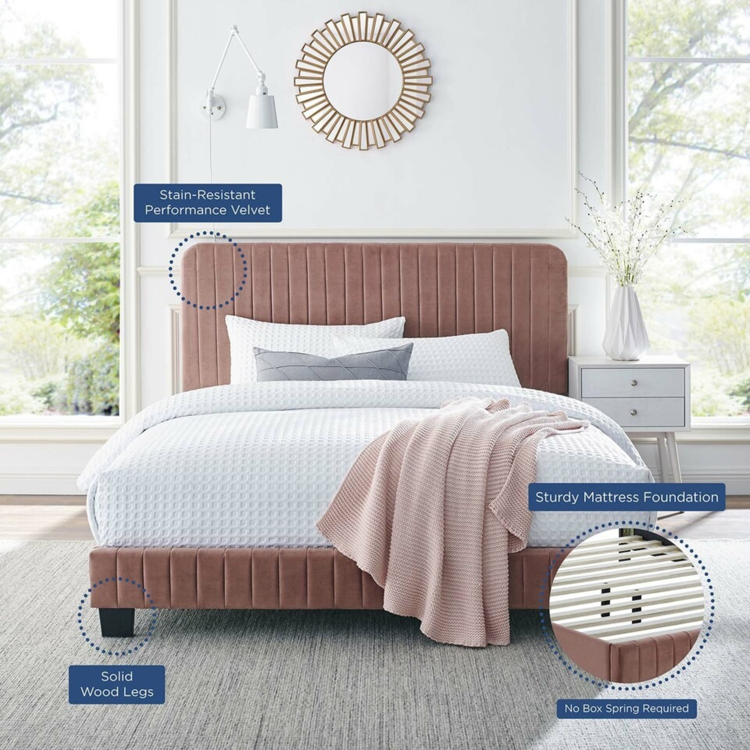 Twin Bed In Dusty Rose Tufted Velvet Fabric Finish - image-6