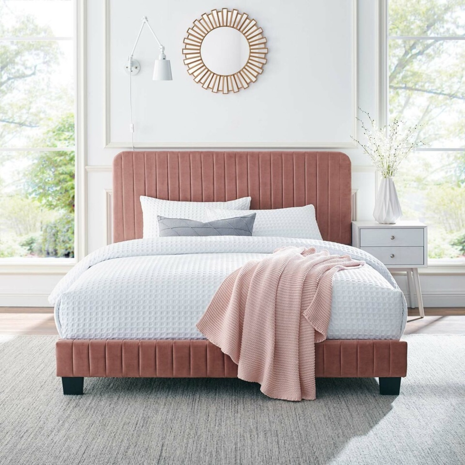 Twin Bed In Dusty Rose Tufted Velvet Fabric Finish - image-7