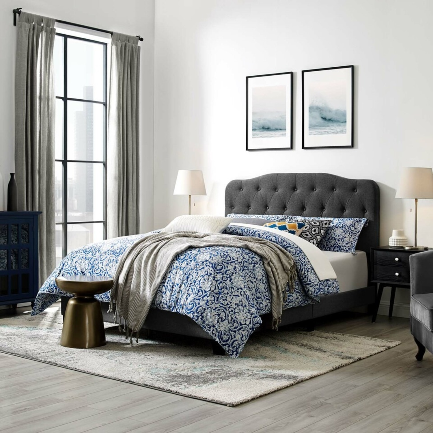 Modern Twin Bed In Gray Fabric Upholstery Finish - image-4
