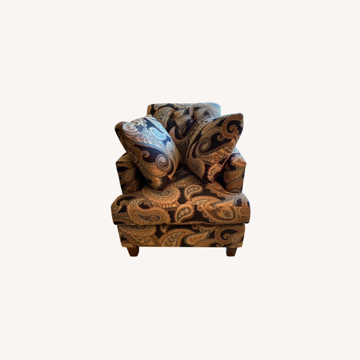 Blue Patterned Chair with Matching Pillows - image-0