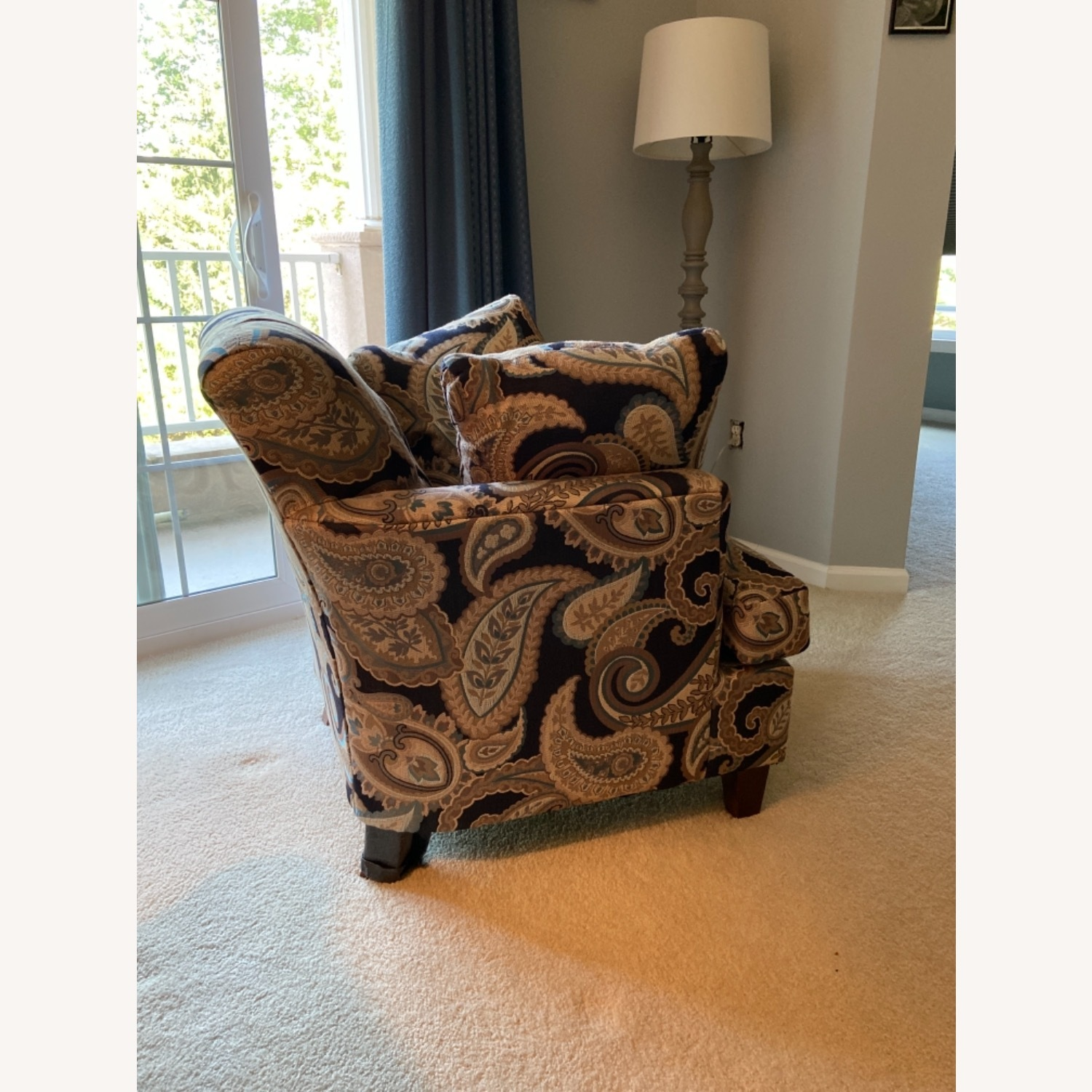 Blue Patterned Chair with Matching Pillows - image-3