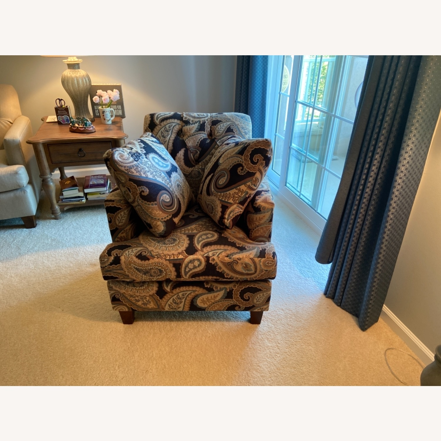 Blue Patterned Chair with Matching Pillows - image-2