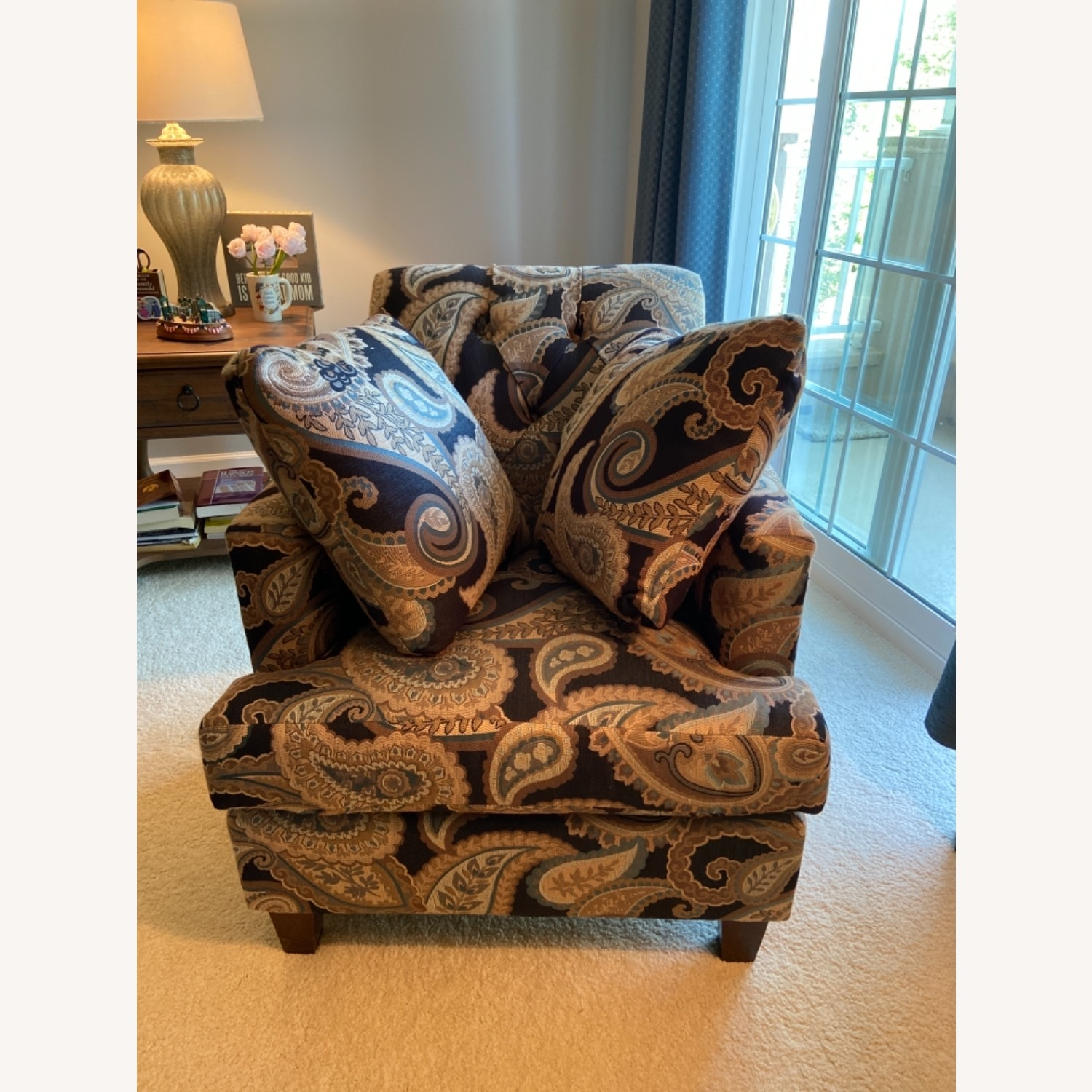 Blue Patterned Chair with Matching Pillows - image-1