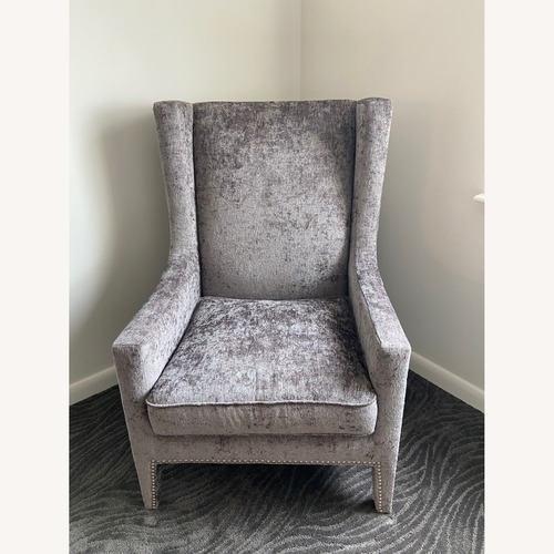 Used Silver Accent Chair with Rivets for sale on AptDeco