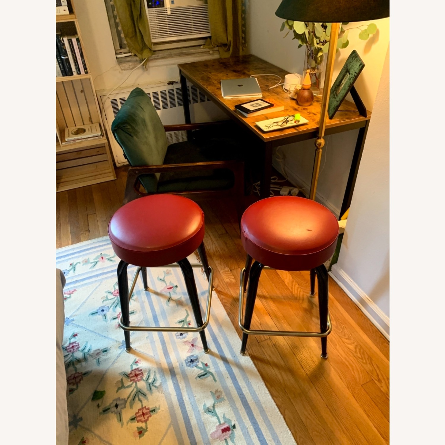 Red Leather Counter Stools - image-3